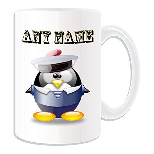 Personalisiertes Geschenk, großer Sailor Tasse (Pinguin in Kostüm Design Thema, weiß)–alle Nachricht/Name auf Ihre einzigartige–Meer Ozean ()