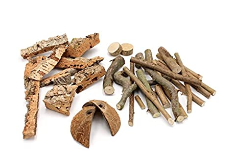 Boredom Breaker Nibble Treat Sticks - Mix of Hazelnut Wood, Cork and Coconut Shell for Hamsters, Rabbits, Guinea Pigs, Chinchillas and Other Small