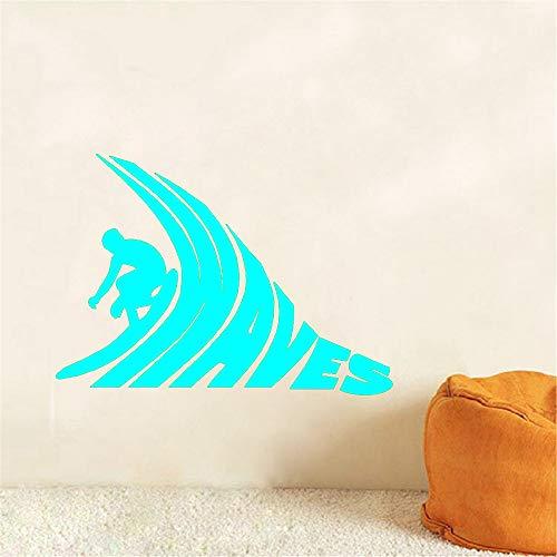 Wandaufkleber Surf Waves Wandkunst Aufkleber Für Surfing Club Sport Raumdekoration Tapeten Für Schlafzimmer Hellblau 42x48 cm ()