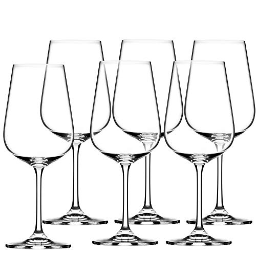 KADAX Rotweingläser aus Kristallglas, 6er Set, 450ml, schöne Weingläser mit hohe Stiel, Rotweinkelche für zu Hause, Party, hochwertige Qualität, breiter Untersetzer