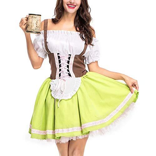 JiangJie Kawaii Deutsches Dirndl Kostüm für Damen für das bayerische Oktoberfest Halloween Kostüm Cosplay Deutsches Bier Mädchen Kostüm Sexy Dirndl Kleid mit (Deutsch Bier Mädchen Kostüm)