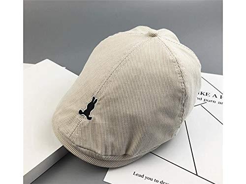 Kleinkind Mütze Kinder Stickerei Cowboy Barett Hut Kinder Flat Top Cap Sonnenblende Sonnenschutz für 5-10 Jahre Alt (dunkelblau) Baby Kopfbedeckung (Farbe : Beige, Größe : 52-54cm) (Cowboy-hüte Für Jungen)