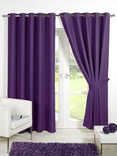 Viceroybedding Pair of PLUM PURPLE 66″ Width x 90″ Drop, Supersoft Thermal Blackout EYELET/RING TOP Curtains Including Pair of Matching Tie Backs, Winter Warm but Summer Cool' by VICEROY BEDDING