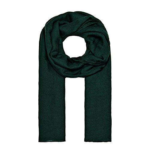 ManuMar Schal einfarbig | Hals-Tuch in Uni-Farben | einfarbig Dunkel-Grün als perfektes Sommer-Accessoire | klassischer Damen-Schal - Das ideale Geschenk für Frauen (Polyester Viskose 20% 80%)