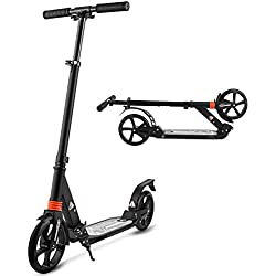 YUEBO Trottinette Adultes Pliable Patinette Enfant 2 Roues City Scooter City Roller Kick Scooter Enfants et Adultes (Noir)