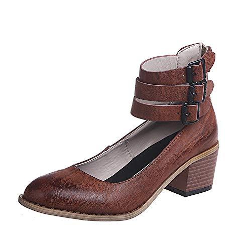 Scarpe col Tacco Donna Mary Jane Basse Plateau Punta Eleganti Estate Chiuse Traspirante Blocco Heels 5 CM Moda Comode Scarpe Marrone 38