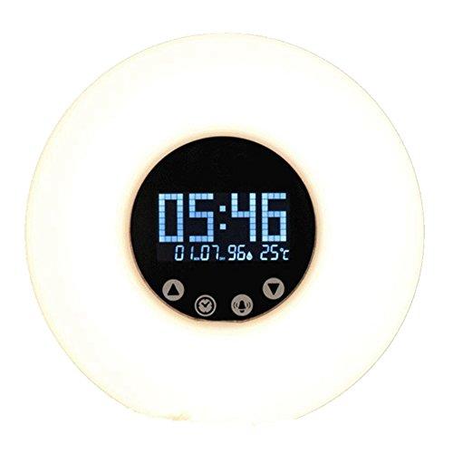 Preisvergleich Produktbild HzxlT Sonnenaufgang Sonnenuntergang Simulation Wecker Aufwachen Digitaluhr Temperaturanzeige FM Radio Schalter Farben mit Fernbedienung