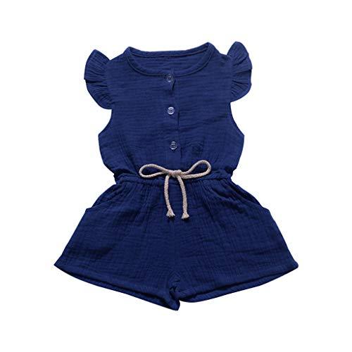 Beige Kleid Hose (Riou Jumpsuit Baby Mädchen Sommer ärmellose Feste Blumen Overall Hosen Spielanzug Kleidung Romper Overall Body Babykleidung Set)