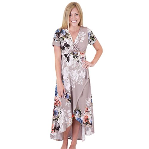 DOLDOA Frauen V-Ausschnitt Boho Long Maxi Strandkleid Blumen Sundress (EU: 40, B) (Neckholder-maxi-kleid Geflochtene)