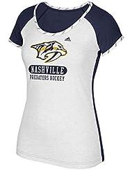 "Nashville Predators Women's Adidas NHL ""Skates"" Dual Blend Premium T-Shirt Chemise"