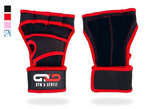 Gym & Gentle Damen Herren Fitness Handschuhe/Trainingshandschuhe/Handgelenkstütze - Krafttraining/Bodybuilding/Crossfit (Rot, L)