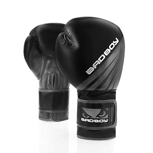 Bad Boy Erwachsene Training Series Impact Boxhandschuhe, Schwarz/Grau, 10oz