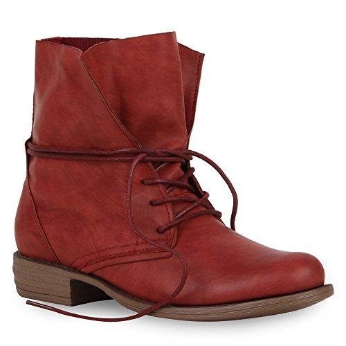 Damen Stiefeletten Worker Boots Leder-Optik Knöchelhohe Stiefel Camouflage Booties Bockabsatz Gr. 36 - 42 Schuhe 51295 Rot 40 | (Sale Damen Stiefel)