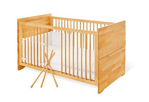 Pinolino Kinderbett Natura, stabiles, natürliches Babybett (140 x 70 cm) mit 3 Schlupfsprossen, aus vollmassiver Buche, geölt, Umbauseiten enthalten (Art.-Nr. 11 21 74)