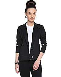 Campus Sutra Black Womens Buttoned Structured Blazer (AW15_JKHNK_W_PLN_BL_M)
