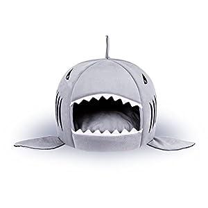 Hianiquaime® Niche de Chien en Forme de Requin très Mignon Petit Panier avec Coussin Amovible pour Petit Chien Chiot Chat Chaton Lapin Gris/Rose
