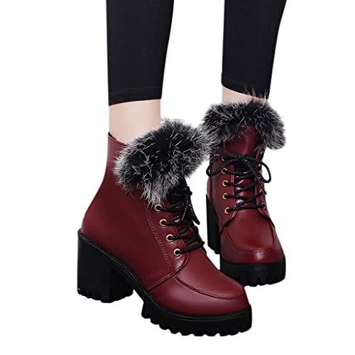 TianWlio Frauen Herbst Winter Stiefel Schuhe Stiefeletten Boots Stiefel Winter Kniehohe Stiefel Hohe Schlauchboots Absatz Stiefel Wein 35