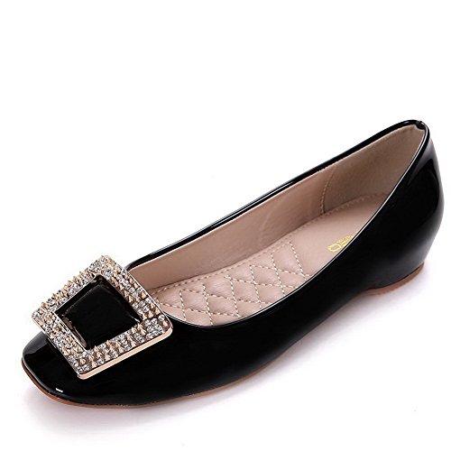 AalarDom Damen Weiches Material Ziehen Auf Quadratisch Zehe Niedriger Absatz Pumps Schuhe Schwarz-Inner Hohe Absatz