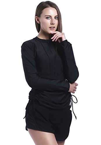 Badeanzug Top Saiten (New MZ Garment UV Sun Schutz Damen Basic Skins langen Ärmeln Rashguard Neoprenanzug Badeanzug Top 901 (XS, black))