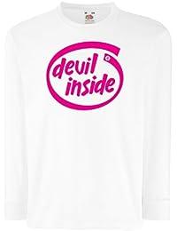 lepni.me Camisetas de Manga Larga para Niño Devil Inside  Regalo Genial para  el 339b9af7a53