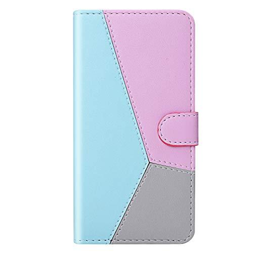 Preisvergleich Produktbild Miagon Spleißen Hülle für Huawei P30 Lite, PU Schutzhülle Case Leder Tasche Flip Case Cover Skin Ständer Klapphülle Schale Bumper Ledertasche, Blau