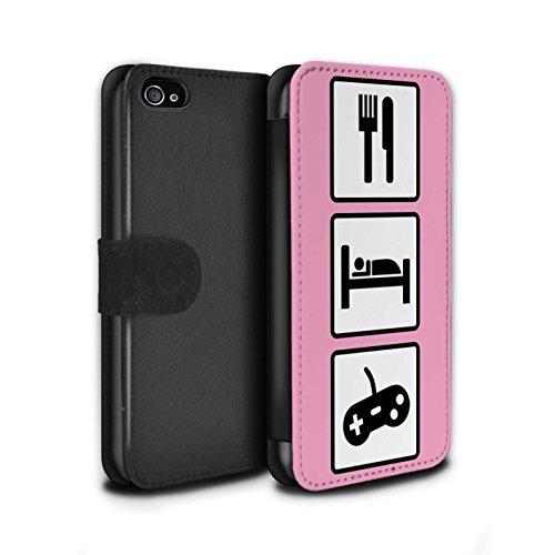 Stuff4 Coque/Etui/Housse Cuir PU Case/Cover pour Apple iPhone 4/4S / Pack 10pcs Design / Manger/Sommeil Collection Jeu/Jeux/Rose