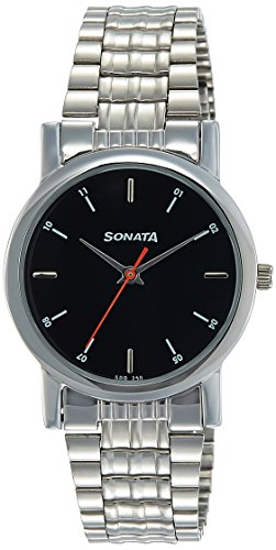 Sonata Analog Black Dial Men's Watch -NJ7987SM04W