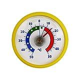Lantelme Rundes Bimetall Analog Klebe Kühlschrankthermometer Kühlschrank Thermometer Temperatur Anzeige + / - 50 °C Kunststoff Farbe gelb (BRVS)