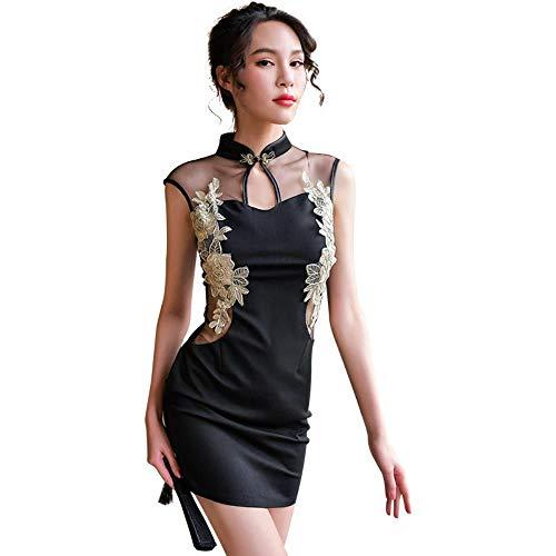 Traditionelle chinesische Kostüme Klassische Stickerei Cheongsam Babydoll Frauen SexyErotische Dessous Porno Sex Bodycon Kleid, Einheitsgröße
