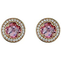 0eec4f644 Sterling Silver Rose Gold Finish Pink Cubic Zirconia Halo Stud Earrings 925