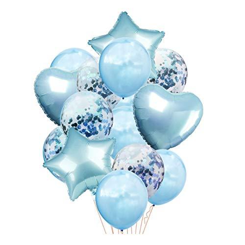 ZSQQSCL Festliche Dekorative Luftballons 12-Zoll Gemischte Farbe Runde Stern Herz Konfetti Ballon Set Für Familie Party Dekoration, D