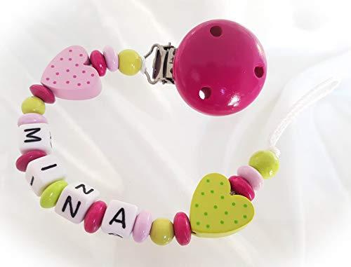 Baby Schnullerkette für Mädchen mit Teddy und Wunschnamen - Kinder -  Geschenk zur Geburt, Taufe - Länge: max  22cm - (Lemon, Pink)