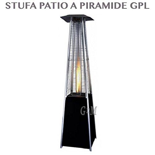 Parasol chauffant électrique professionnel d'extérieur en forme de pyramide, à fonctionnement gaz GPL, avec roues, pour bouteille de 15 kg - flamme libre