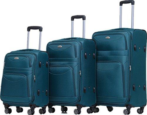BEIBYE 8009 TSA Schloß Stoff Trolley Reisekoffer Koffer Kofferset Gepäckset (Türkis, Set)