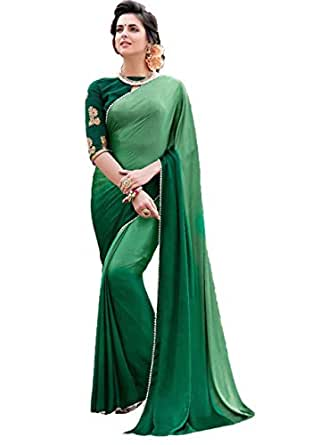 Tagline Women's Clothing Saree Collection in Multi-Coloured Georgette Material For Women Party Wear,Wedding,Casual sarees Offer Latest Design Wear Sarees With Blouse Piece (Dark Green)