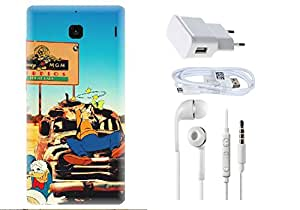 Spygen Xiaomi Redmi 1S Case Combo of Premium Quality Designer Printed 3D Lightweight Slim Matte Finish Hard Case Back Cover + Charger Adapter + High Speed Data Cable + Premium Quality Handfree