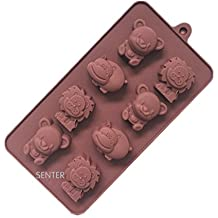 Senter tazas de más de silicona Muffin Mold Muffin animales forma Muffin forma pastel postre Cup Cake Pudding Jelly Mini Cupcake Mold Set Moldes de Pastel Cupcake Mold molde para hornear hippo and lion
