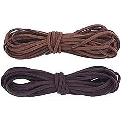 ULTNICE 2Pieces cordón colgante de cuero para el collar de la pulsera que rebordea la fabricación de la joyería