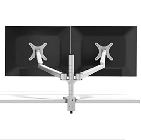 LESHP Monitors Arm Dual Arms for PC Computer Monitors 2 in 1 Adjustable Desktop Mount Stand Workstation Support Bracket Clamp Holder Silver (Dual Tablet