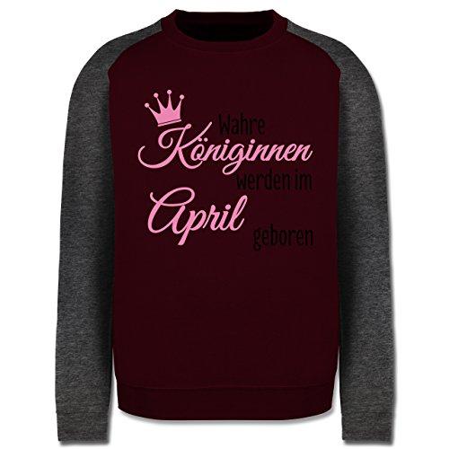 Geburtstag - Wahre Königinnen werden im April geboren - Herren Baseball Pullover Burgundrot/Dunkelgrau meliert