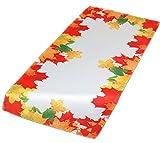 Farbenfrohe Tischdecke Herbst Weiß Blätter Blatt Bunt Läufer Decke Pflegeleicht Bügelfrei (Tischläufer 40x85 cm)