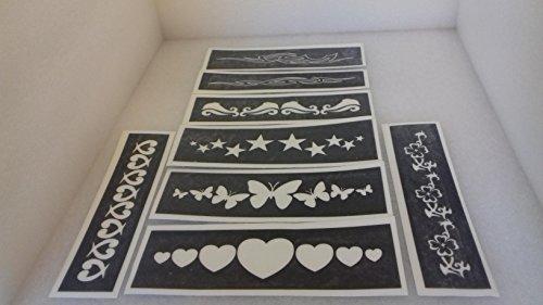 30x Armband Schablonen für Glitzer Tattoos/Airbrush/Henna (unterschiedliche) Delfin Herz Blumen