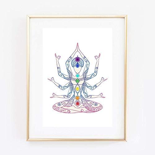 Din A4 Kunstdruck ungerahmt - Sieben Chakren Chakra Meditation Buddhismus Yoga Zen Figur Geschenk Druck Poster Bild