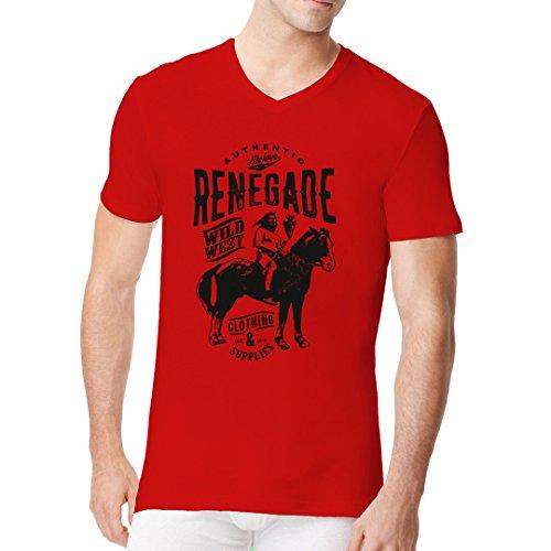 Im-Shirt - Renegade - Indianer auf Pferd cooles Fun Men V-Neck - verschiedene Farben Rot