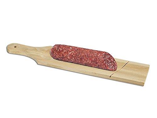Vetrineinrete® set di 3 taglieri in legno per salame con scanalatura per affettare salami salumi tagliere scanalato per aperitivo 33x7x1 cm g66