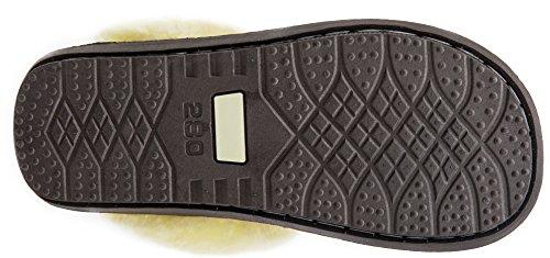 WARMIE Australische Lammfell Schaffell Hausschuhe Hüttenschuhe Fußwärmer | Extra Flauschig Hausschuhe für Damen, Männer Braun