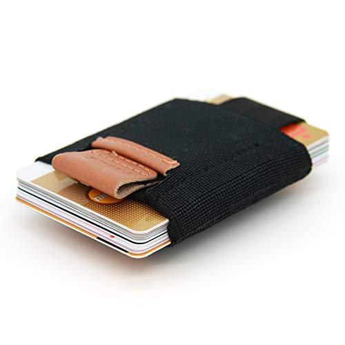 SWISSONA Kartenbörse aus elastischem Kunststoff und echtem Leder | Kreditkartenhalter, Kartenetui, Mini Brieftasche, Geldbörse, Kleiner Geldbeutel für max. 16 Karten - Kunststoff Elastischen