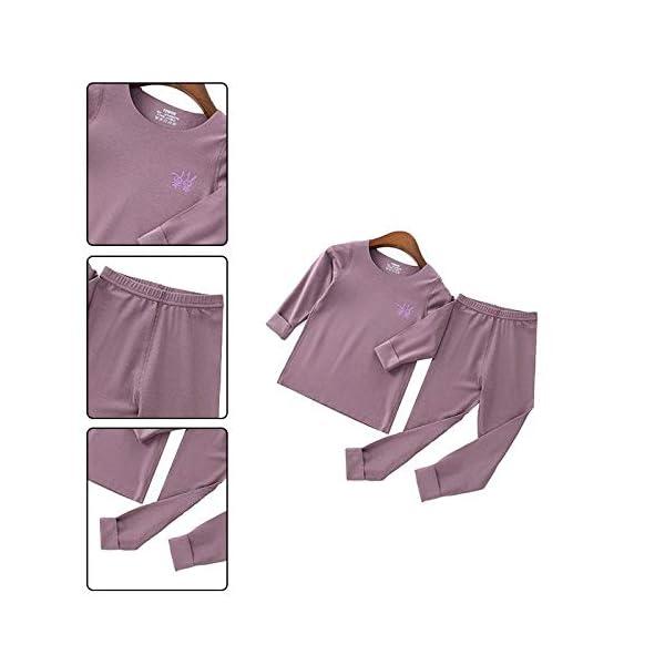 Pouybie 1 pc Pijamas para niños, Ropa Interior térmica sin Costuras y Ropa Interior térmica de Invierno para niños Top… 4