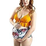 Galy Umstandsbademode Umstands Tankini Schwangerschaft Bademode Mutterschaft Bikini Große Größen Badeanzug Monokini Umstandskleidung Sommer Strandkleider Rüschen Schwimmanzug Weste mit Shorts T-Shirt