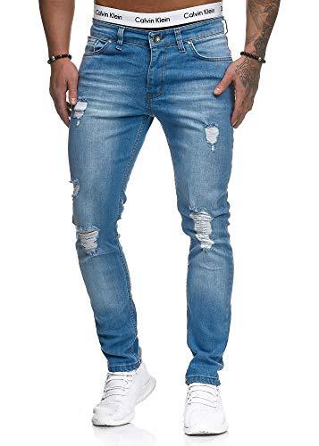 OneRedox Herren Jeans Denim Slim Fit Used Design Modell 5127 L.Blue 31/32